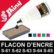 Flacon d'encre à réencrer pour tampon encreur Shiny - Couleurs dispo : Noir, Bleu, Rouge, Vert, Violet