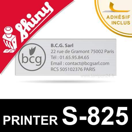 Empreinte caoutchouc pour Shiny Printer S-825 - Plaque texte personnalisable en ligne